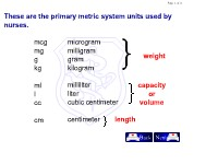 Mathematics Conversions in Nursing Math