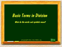 Mathematics Basic Terms in Division