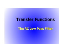 Science, Technology, Engineering & Mathematics Transfer Functions: The RC Low Pass Filter