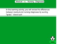 Health Science Medical vs. Nursing Diagnoses