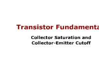 Science, Technology, Engineering & Mathematics Transistor Fundamentals: Collector Saturation and Collector-Emitter Cutoff